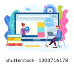 online lesson  webinar  seminar ...   Shutterstock .eps vector #1303716178