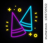 neon party cone hat sign.... | Shutterstock .eps vector #1303720522