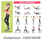woman doing different exercise... | Shutterstock .eps vector #1303728298