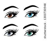 illustration of woman's eyes...   Shutterstock .eps vector #1303730548