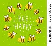 cute honey bees round frame for ... | Shutterstock .eps vector #1303733392