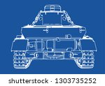 drawing of old military... | Shutterstock .eps vector #1303735252