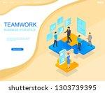 teamwork in business. project... | Shutterstock .eps vector #1303739395