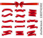 red ribbon and bow white... | Shutterstock . vector #1303742332