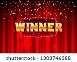 winner frame label  falling... | Shutterstock .eps vector #1303746388
