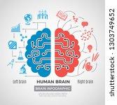 brain silhouette infographic.... | Shutterstock .eps vector #1303749652