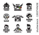video game badges. joystick...   Shutterstock .eps vector #1303749658