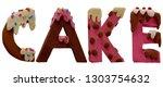 plasticine cake font letters....   Shutterstock . vector #1303754632