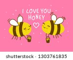 cute honey bees on pink... | Shutterstock .eps vector #1303761835