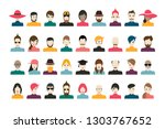 people avatar set. man  woman... | Shutterstock .eps vector #1303767652