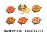 collection of whole pizza with... | Shutterstock .eps vector #1303769095