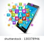 social media icons and mobile... | Shutterstock .eps vector #130378946