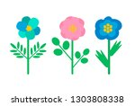 buds with blue and pink petals  ...   Shutterstock .eps vector #1303808338