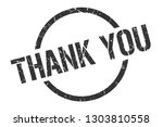 thank you black round stamp | Shutterstock .eps vector #1303810558