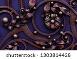 decorating forged metal gates ... | Shutterstock . vector #1303814428