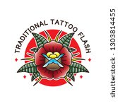 traditional flower tattoo flash ... | Shutterstock .eps vector #1303814455