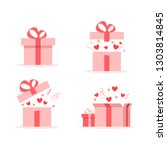 valentines day gift boxes. pink ... | Shutterstock .eps vector #1303814845