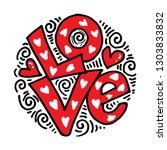 love hand lettering handmade... | Shutterstock .eps vector #1303833832
