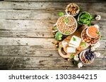 healthy plant vegan food ... | Shutterstock . vector #1303844215