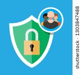 shield icon with lock and user... | Shutterstock .eps vector #1303847488