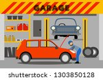a young mechanic repairs a red... | Shutterstock .eps vector #1303850128