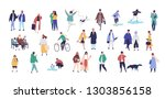 crowd of tiny people dressed in ... | Shutterstock .eps vector #1303856158