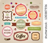 set of retro bakery and coffee... | Shutterstock .eps vector #130387556