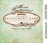 restaurant label design with... | Shutterstock .eps vector #130387886