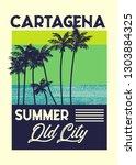 cartagena summer t shirt design ... | Shutterstock .eps vector #1303884325
