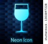 glowing neon wine glass icon... | Shutterstock .eps vector #1303897228