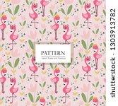 pink flower and flamingo bird...   Shutterstock .eps vector #1303913782
