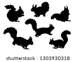 black silhouette of squirrel in ... | Shutterstock .eps vector #1303930318