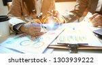team meeting working new start... | Shutterstock . vector #1303939222