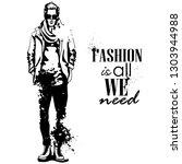 man model dressed in jeans  t ... | Shutterstock . vector #1303944988