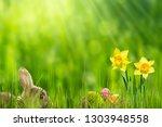 easter bunny in idyllic... | Shutterstock . vector #1303948558