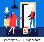 food delivery   flat design... | Shutterstock .eps vector #1303953505