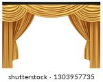 yellow luxury curtains and... | Shutterstock .eps vector #1303957735