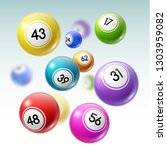 numbered balls of lottery... | Shutterstock .eps vector #1303959082