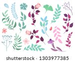 collection of flowers and... | Shutterstock .eps vector #1303977385