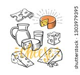 cheese set illustration sketch... | Shutterstock .eps vector #1303979395