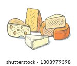 several types of cheese... | Shutterstock .eps vector #1303979398