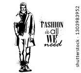man model dressed in pants ... | Shutterstock . vector #1303983952