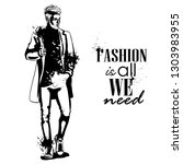 man model dressed in jeans  t ... | Shutterstock . vector #1303983955