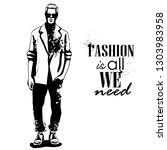 man model dressed in jeans ... | Shutterstock . vector #1303983958