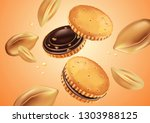 sandwich cookies chocolate and... | Shutterstock .eps vector #1303988125