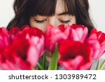 beautiful brunette girl... | Shutterstock . vector #1303989472