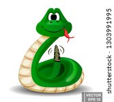 snake. happy. cartoon style.... | Shutterstock .eps vector #1303991995