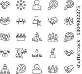 thin line icon set   handshake... | Shutterstock .eps vector #1304002375