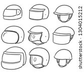vector set of motorcycle helmet | Shutterstock .eps vector #1304015212