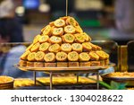 sweet turkish baklava dish on... | Shutterstock . vector #1304028622